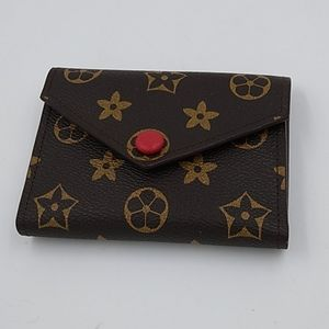 Brown Print Vegan Leather Tri-Fold Wallet